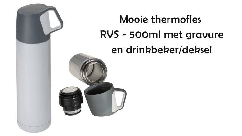 Mooie RVS thermofles met gravure