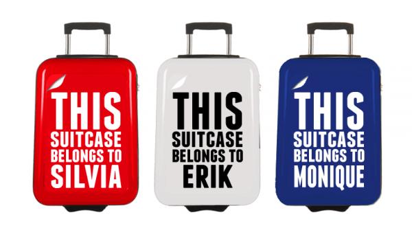Kerstpakket met koffer bedrukt met eigen naam