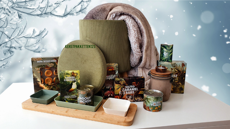 Luxe opberg poef kerstpakket in corduroy design